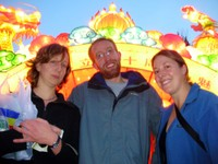 Camilla, Daniel, and Kerryn (L to R) pose for a group photo in Urumqi.