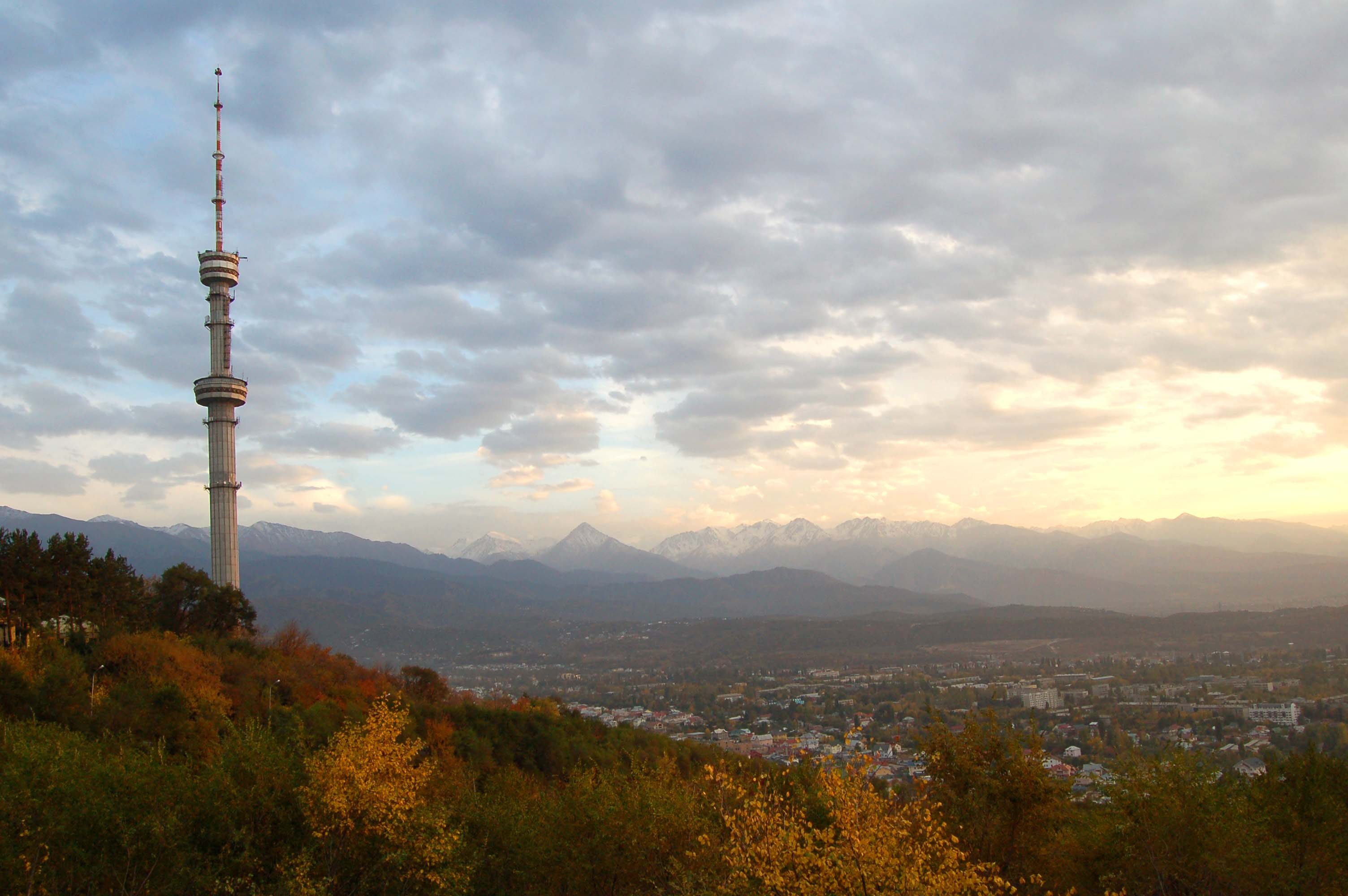 Almaty's TV tower looms high over the city.