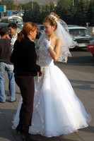 Camilla forced me to snap photos of this Kazakh bride in Almaty's Republic Square. She does give you an idea, however, of how beautiful Kazakh women are.