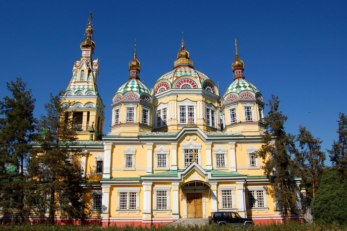 A side view of Zenkov Cathedral, Almaty, Kazakhstan.