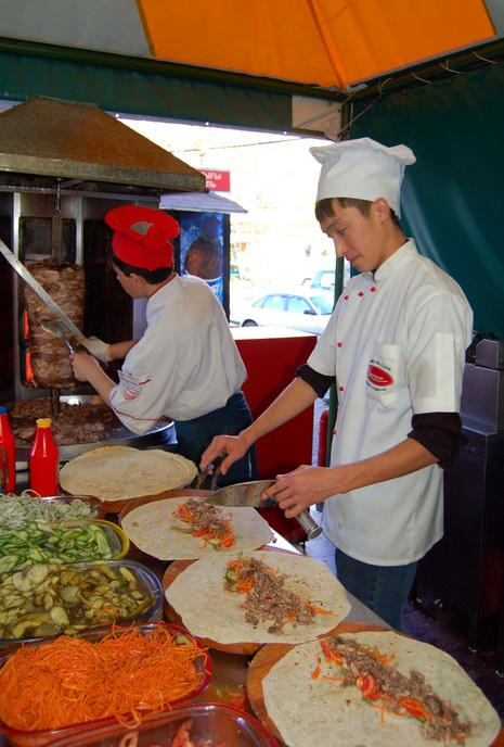 Mmmmmm! Doner kebab being wrapped up near the apartment we rented in Almaty. I like to think of it as a Kazakh burrito.