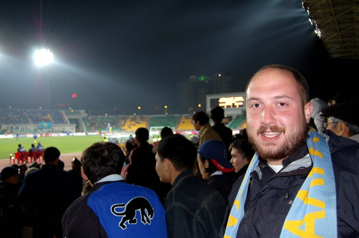 Me, enjoying the game with my Kazakh soccer scarf.