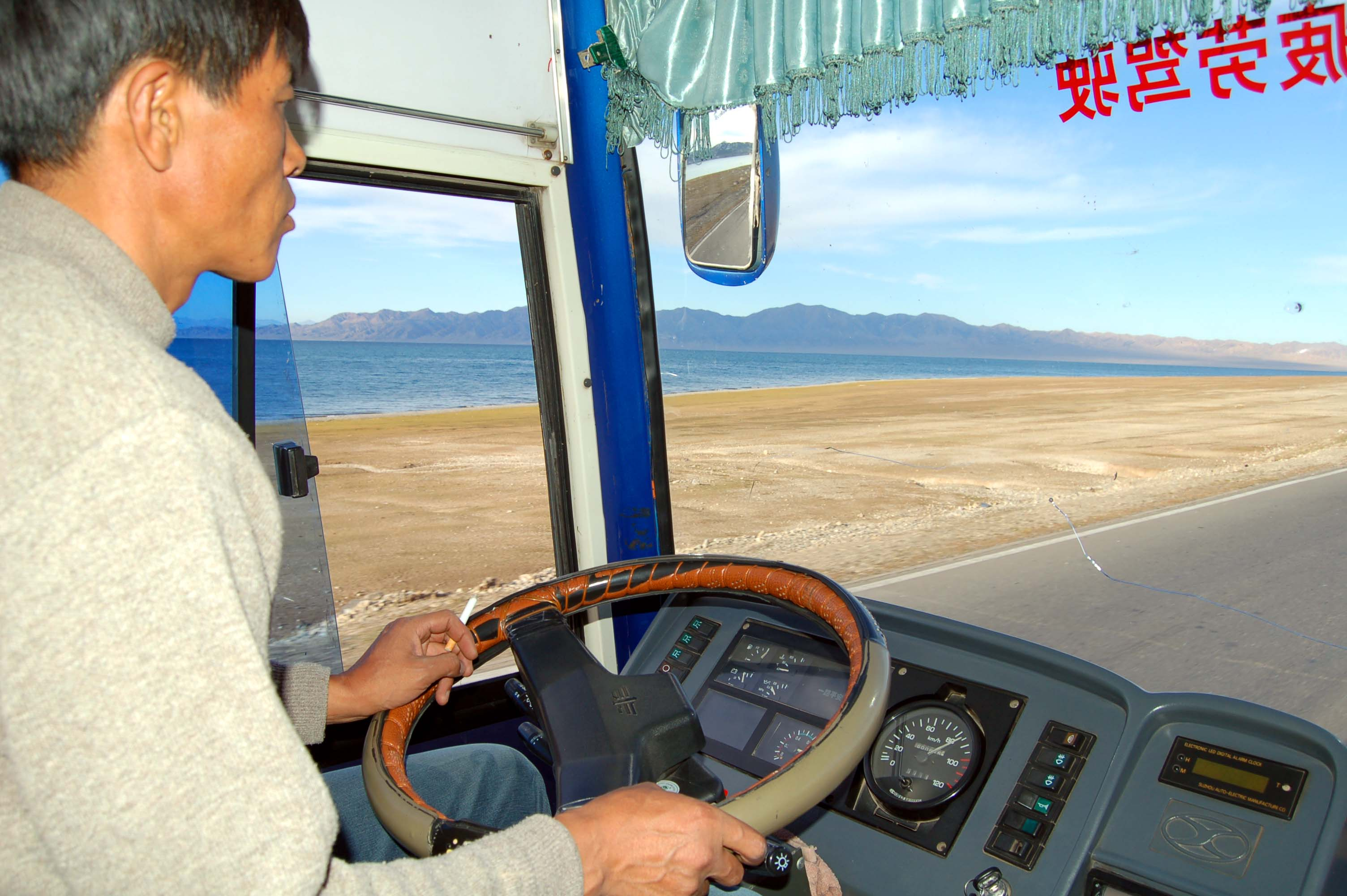 Back in Xinjiang, heading from Yining to Korla by bus. Here, we pass the beautiful Sayram Lake in Yili County...about half-way thru our 53-hour journey by land back from Almaty.