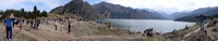 I'm goin' panorama crazy! This shot at Tian Chi (Heavenly Lake) near Urumqi contains Kerryn on the far left and Daniel on the far right.