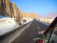On the road to the Mystical Grand Canyon of Xinjiang, in Kuqa.