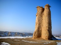 The Kizilgish Beacon Tower... an ancient military outpost standing high over the bed of the Kuqa River.