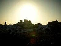 The sun sets over the ruins of Subashi.
