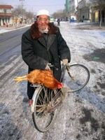 An old Hui (Chinese Muslim) man ties a chicken to the back of his bicycle in the town of Linxia, a few hours north of Xiahe. The chicken didn't sound too happy.