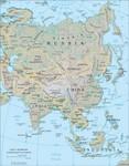 Map of Asia w/ Korla, Xinjiang highlighted