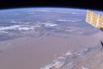 Bosten Hu (Lake) from space w/ Korla highlighted (courtesy: NASA)