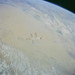 Taklamakan Desert and Bosten Hu from space (courtesy: NASA). That's a lot of sand down there.
