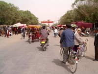 The main strip in Niya (Minfeng), the southern terminus of the Cross-Desert Highway.
