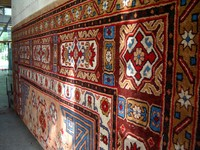 A closer look at one the beautiful carpets made in Hotan.