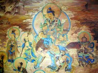 "Compare this wall painting to the Tibetan-style one in the Labrang Monastery gallery. The style in Sichuan is definetely more ""Chinese""."
