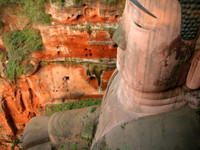 Bam! This buddha measures in at 71 meters (233 feet) tall. It's the largest stone statue of the Buddha in the world.