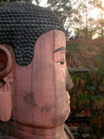 For an idea of scale, compare the relative size of Rachel, Chris, and Camilla to the Leshan Giant Buddha's massive head.