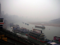 Mid-afternoon gray skies in Chongqing, waiting for the boat.