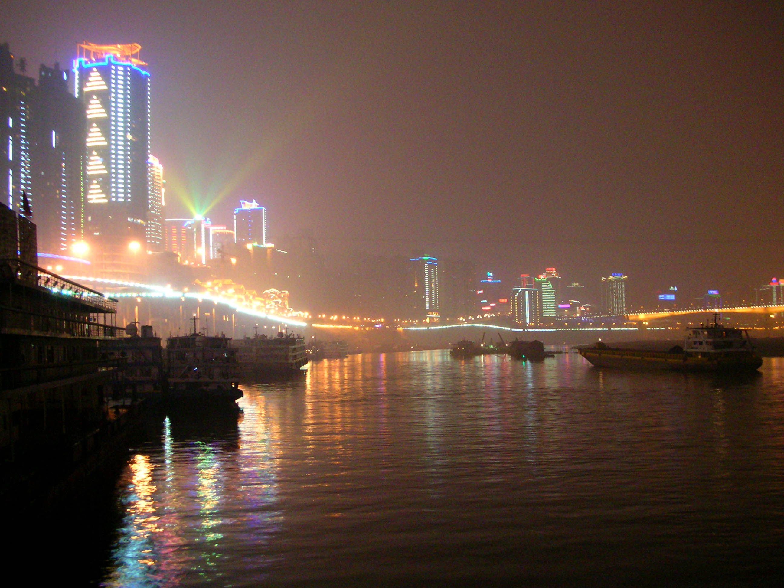 Departing Chongqing and it's neon skyline, via the Yangzi River (Chang Jiang).