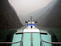The slick-looking boat that ferried us through the Minor Three Gorges.