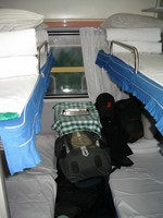 My hard sleeper comparment on the overnight train from Beijing to Xi'an.
