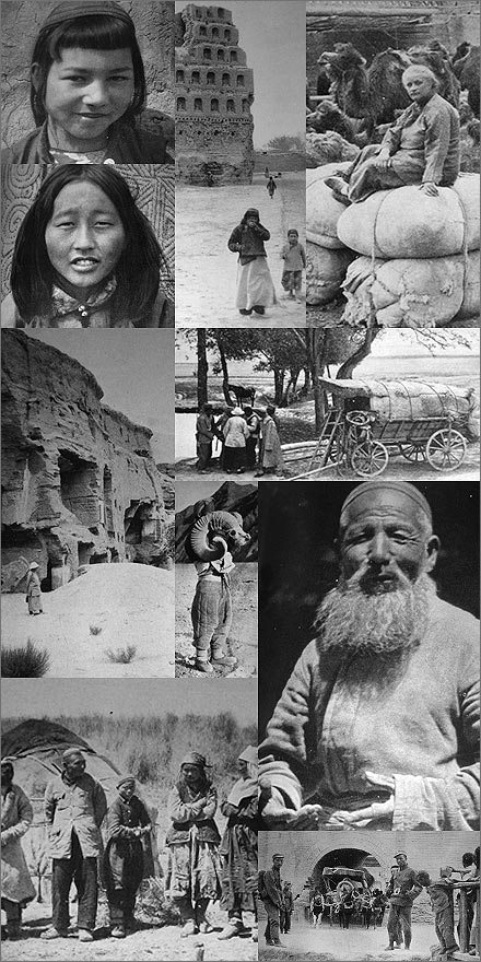 A collage of northwest China photos from Mildred Cable's 1942 book, The Gobi Desert.