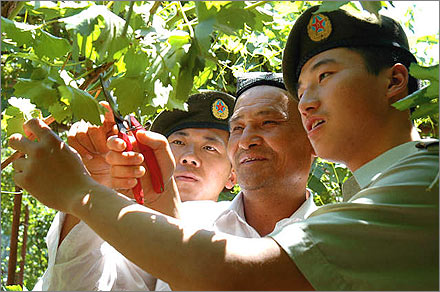 PLA soldiers with a friendly Uyghur farmer.