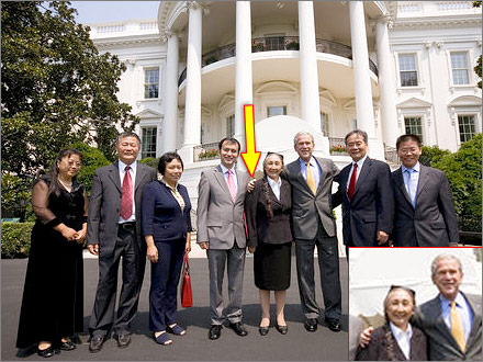 President Bush poses with Rebiya Kadeer and other Chinese dissidents at the White House on July 29, 2008.