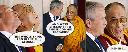 George W. Bush and the Dalai Lama enjoy stickin' it to the Chinese.