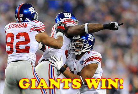 NY Giants win Super Bowl XLII!
