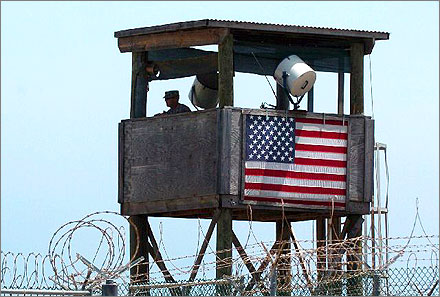 Guard tower over the U.S. military detention facility in Guantanamo Bay, Cuba.