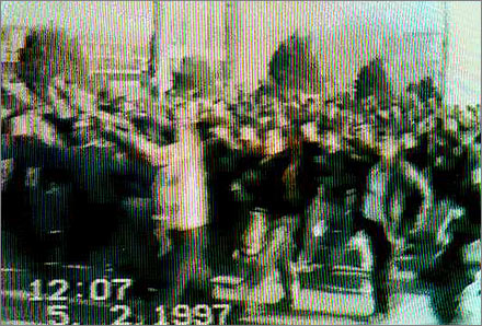 Video frame from the riots in Gulja/Yining on February 5, 1997.