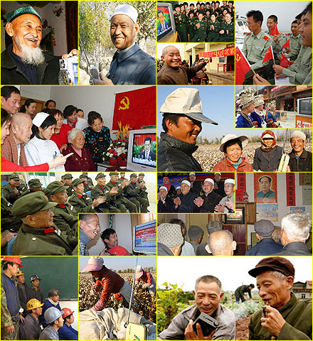 Chinese people around the country watch and listen to the Communist Party's 17th National Congress.