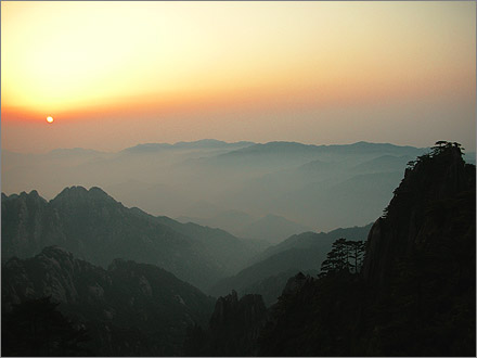 Sunrise over the Yellow Mountains.