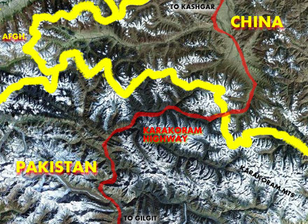 The Karakoram Highway runs from China to Pakistan through the Khunjerab Pass.
