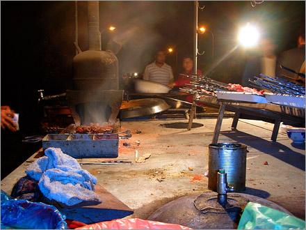 Local kebab stand. Korla, Xinjiang. 2006.