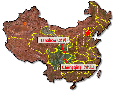 Possible route of the Lanzhou-Chongqing railway.