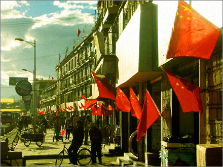 China's flag displayed proudly on the streets of Lhasa.