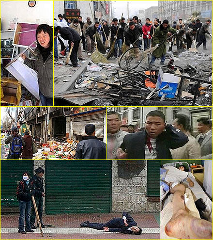 Scenes of destruction in Lh@sa after Tibetan riots in 2008.