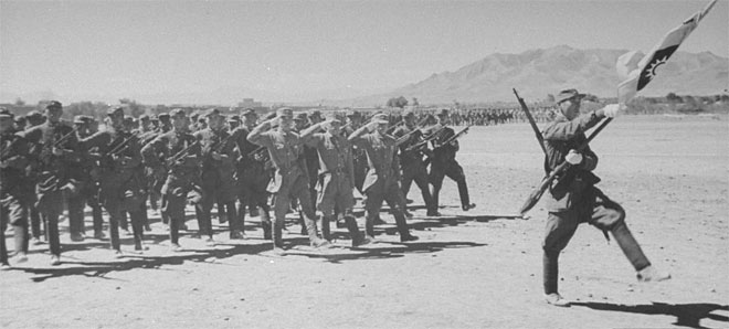 Sheng Shicai's Nationalist aligned troops march in Sinkiang.