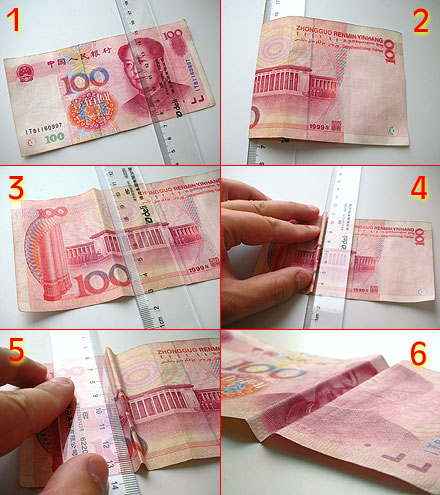 How to fold Chinese currency to make Chairman Mao smile and cry.