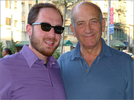 Michael with Ehud Olmert on April 5, 2010.