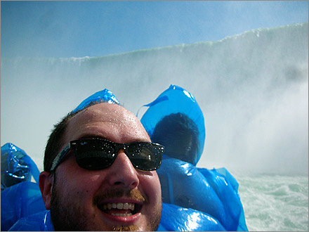 Beneath the Horseshoe Falls on Maiden of the Mist in Niagara Falls, Canada.