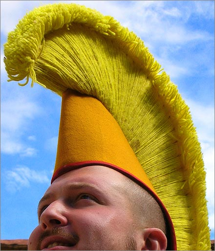 Me, wearing a Tibetan monk's big yellow hat.