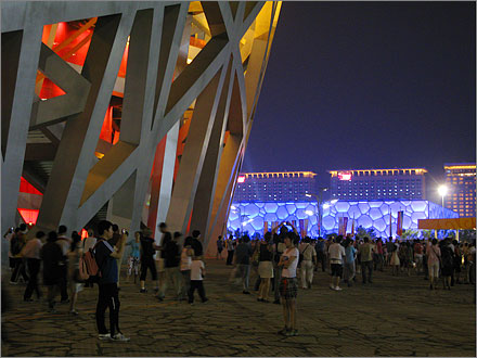 The Bird's Nest and the Water Cube, August 18, 2008.
