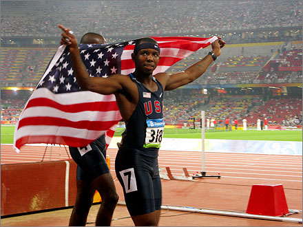 Team USA sweeps the 400m hurdles, August 18, 2008.