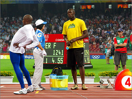 The fastest man on earth, Usain Bolt of Jamaica, August 18, 2008.