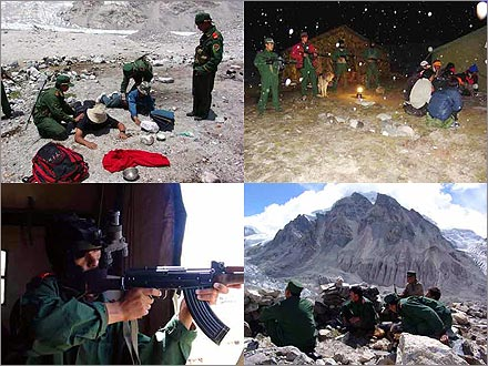 PLA soldiers deployed along the border between Tibet and Nepal.