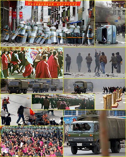 Images of rioting in Tibet, March 14, 2008.