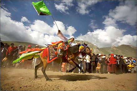 The Tibetan Khampa Festival being celebrated in Gyegu, Qinghai.