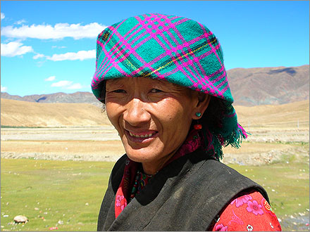 A Tibetan woman near the point on the Friendship Highway 5,000km from Shanghai.